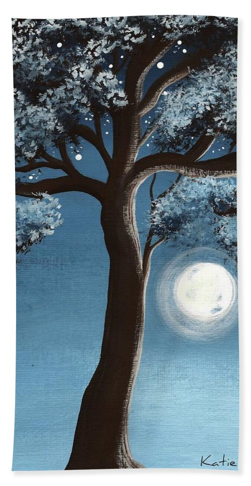 Tree Hand Towel featuring the painting Moonlit Tree by Katie Slaby