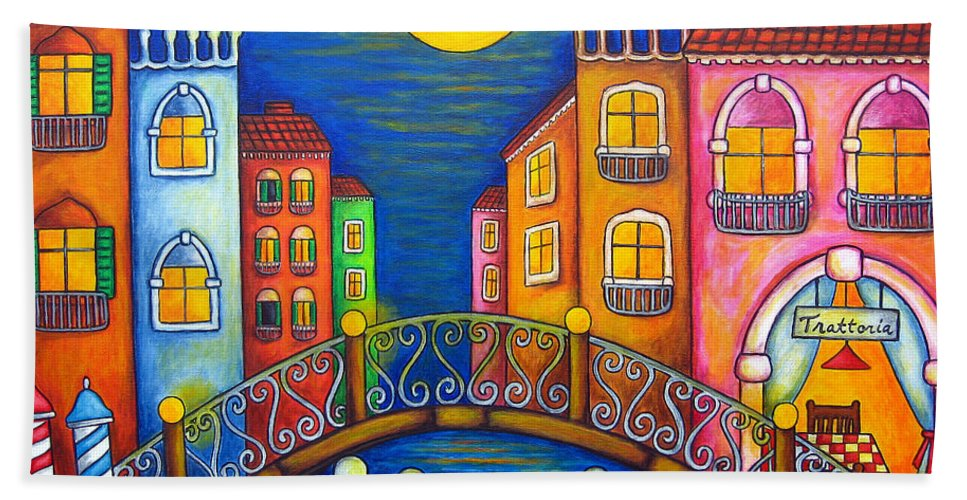 Venice Bath Towel featuring the painting Moonlit Venice by Lisa Lorenz