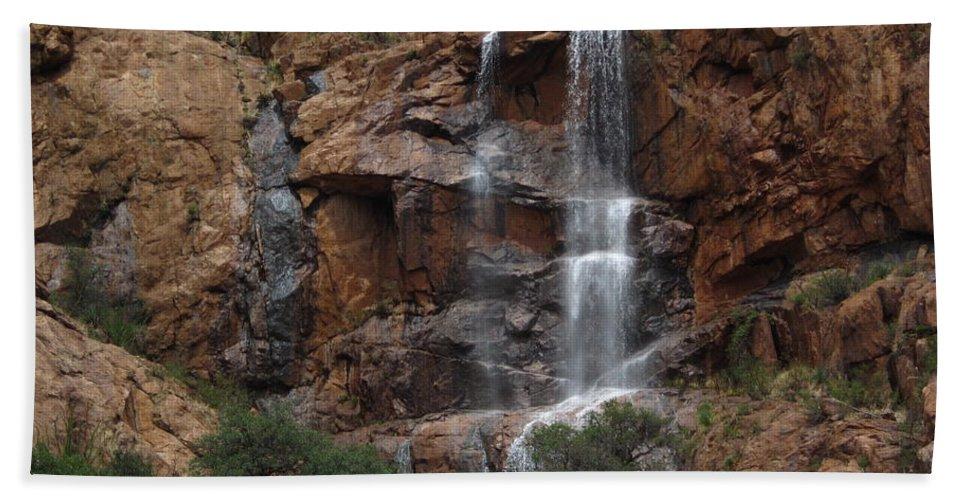 Arizona Hand Towel featuring the photograph Moonlit Waterfall by Robert Visor