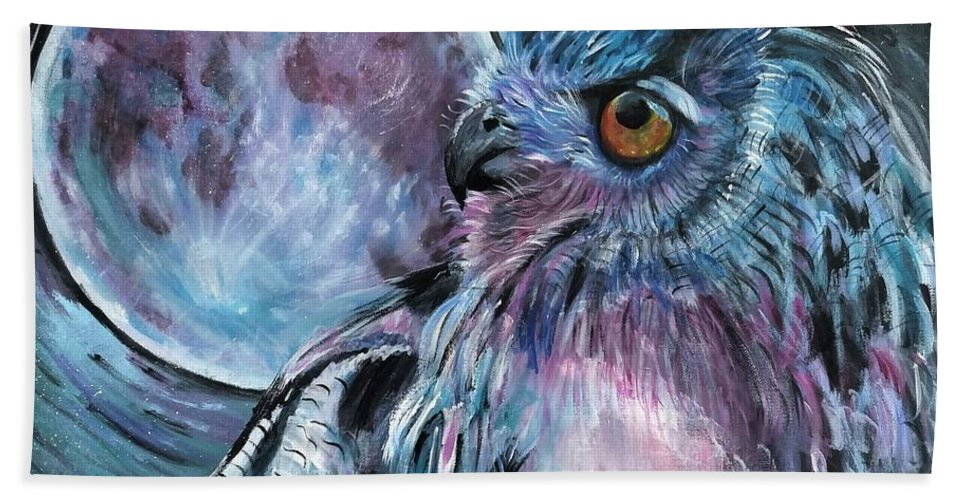 Owl Bath Sheet featuring the painting Moonlit Wisdom by Jodi Mahaffey