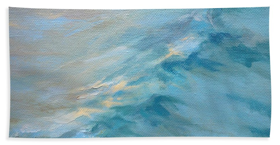 Surf Paintings Bath Sheet featuring the painting Moonlit Waves by Lisa H Ridabock