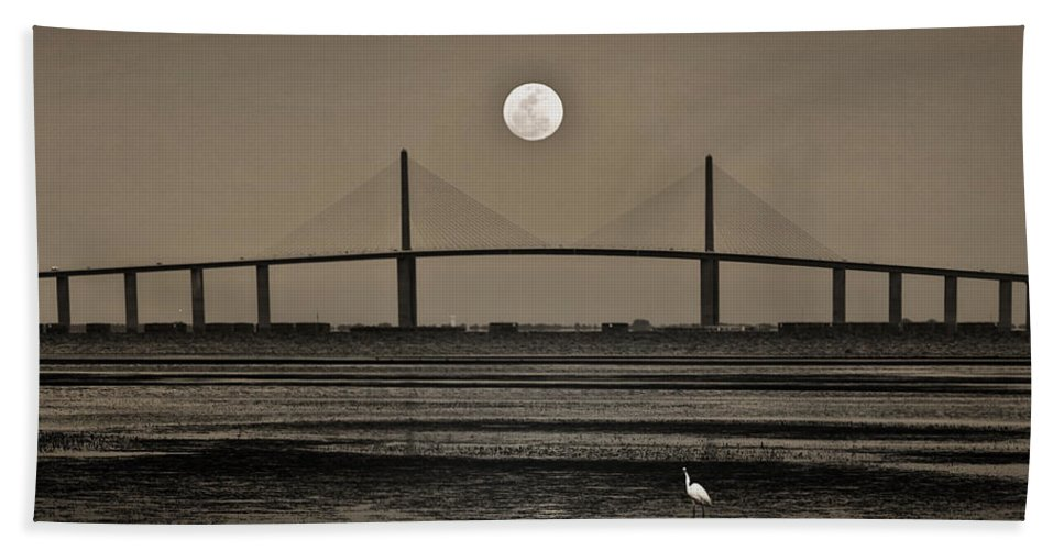 Moon Hand Towel featuring the photograph Moonrise Over Skyway Bridge by Steven Sparks