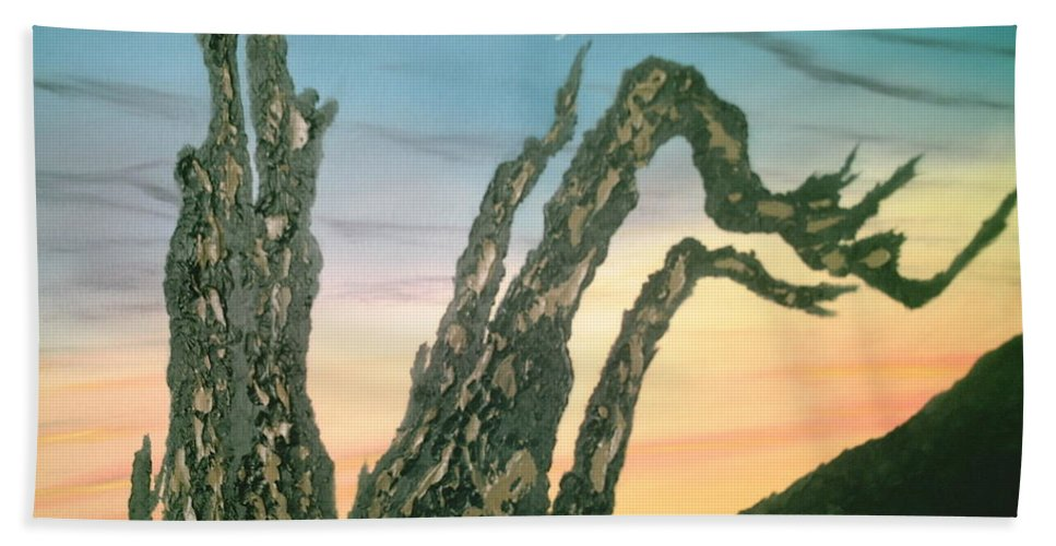 Moonset Bath Sheet featuring the painting Moonset-bristlecone Pine by Jim Saltis