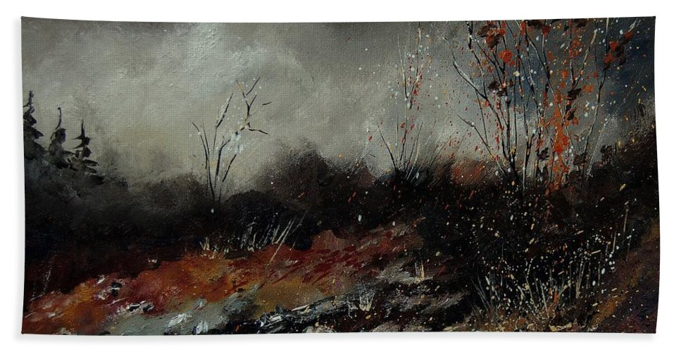 Landscape Hand Towel featuring the painting Moonshine 459001 by Pol Ledent