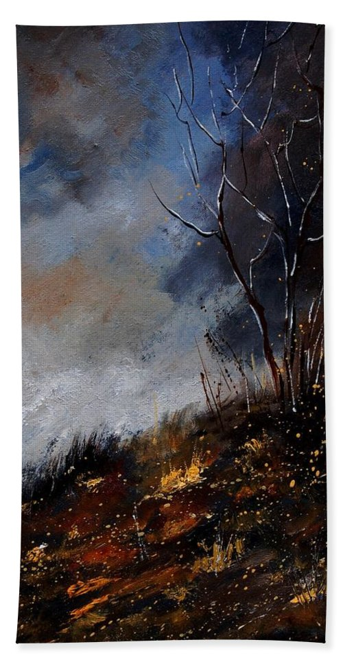 Winter Hand Towel featuring the painting Moonshine 45901190 by Pol Ledent