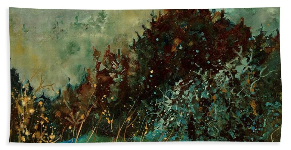 Tree Hand Towel featuring the painting Moonshine 5642 by Pol Ledent