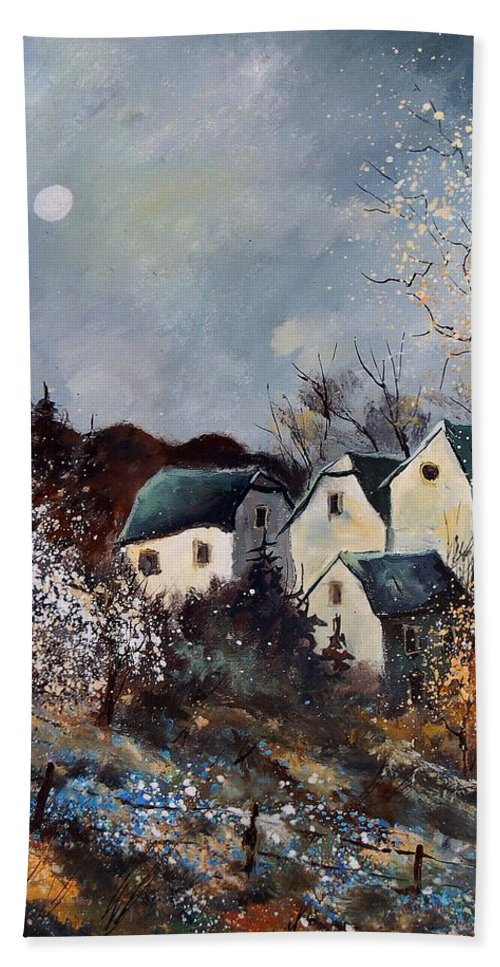 Village Hand Towel featuring the painting Moonshine by Pol Ledent