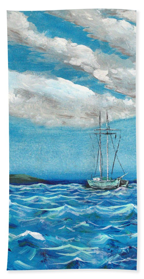 Impressionism Hand Towel featuring the painting Moored In The Bay by J R Seymour