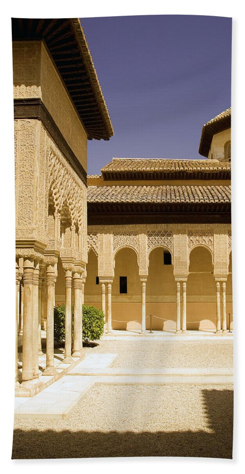 Moorish Hand Towel featuring the photograph Moorish Architecture In The Nasrid Palaces At The Alhambra Granada by Mal Bray