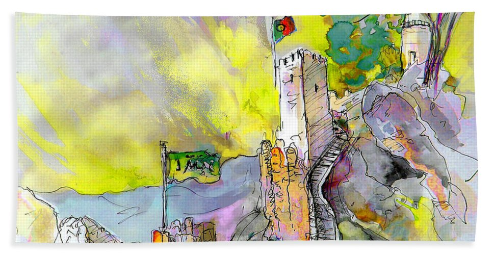 Hand Towel featuring the painting Moorish Castle In Sintra 01 by Miki De Goodaboom