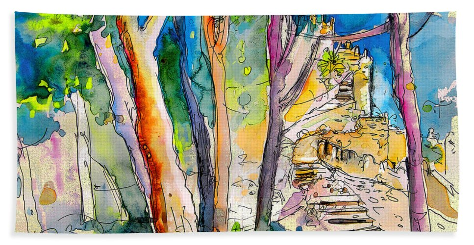 Sintra Hand Towel featuring the painting Moorish Castle In Sintra 02 by Miki De Goodaboom