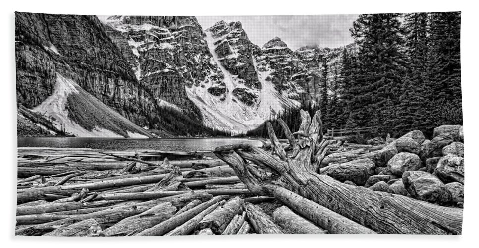 Alberta Bath Sheet featuring the photograph Moraine Lake Driftwood No 1 by Stephen Stookey