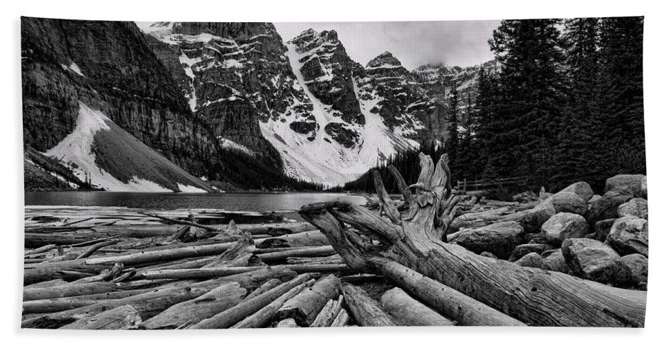 Alberta Bath Sheet featuring the photograph Moraine Lake Driftwood No 2 by Stephen Stookey