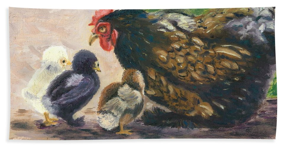 Chickens Hand Towel featuring the painting More Of Life by Paula Emery