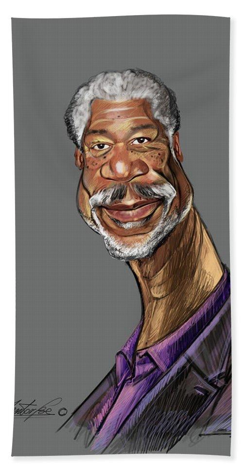 Digital Drawing Bath Sheet featuring the digital art Morgan Freeman by Mentor Berisha