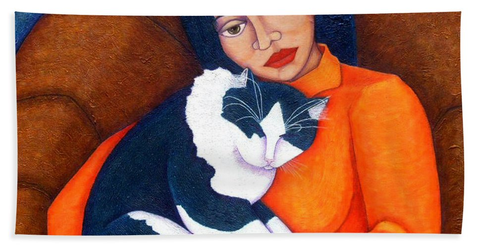 Woman Hand Towel featuring the painting Morgana With Woman by Madalena Lobao-Tello