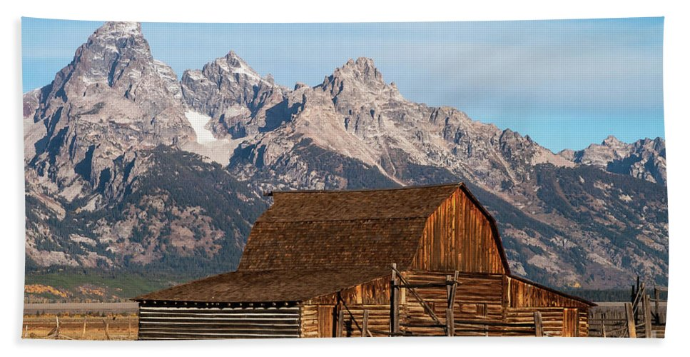 Jackson Hole Hand Towel featuring the photograph Mormon Barn by Bob Phillips