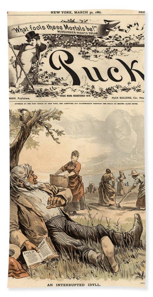 1887 Bath Sheet featuring the photograph Mormon Cartoon, 1887 by Granger