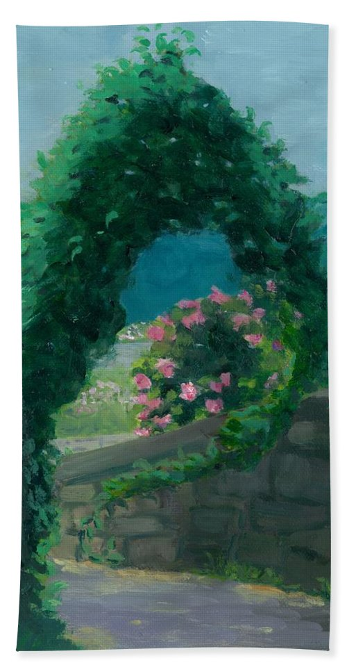 Landscape Bath Towel featuring the painting Morning At Harkness Park by Paula Emery