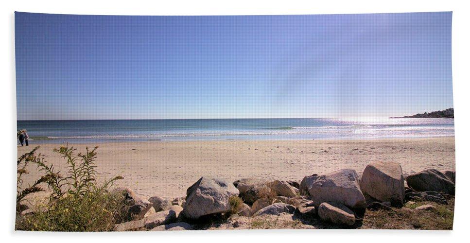 Beach Hand Towel featuring the photograph Morning At Qgunquit Beach 2. by Robert McCulloch