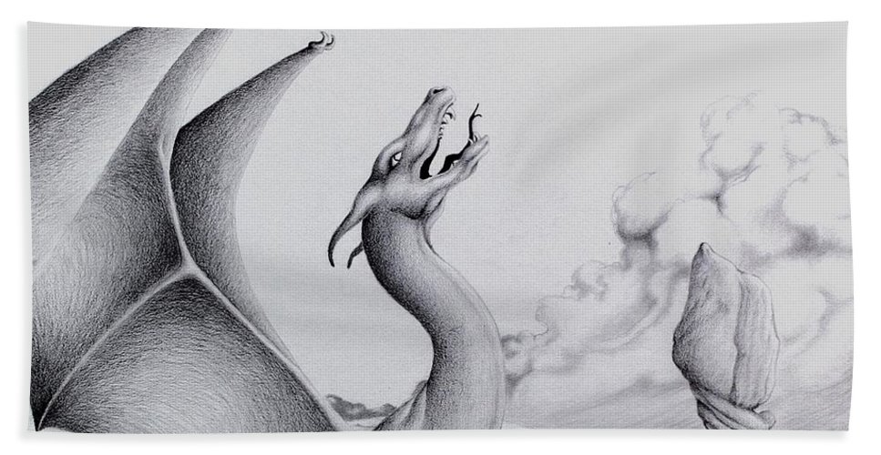 Dragon Hand Towel featuring the digital art Morning Bellow by Robert Ball