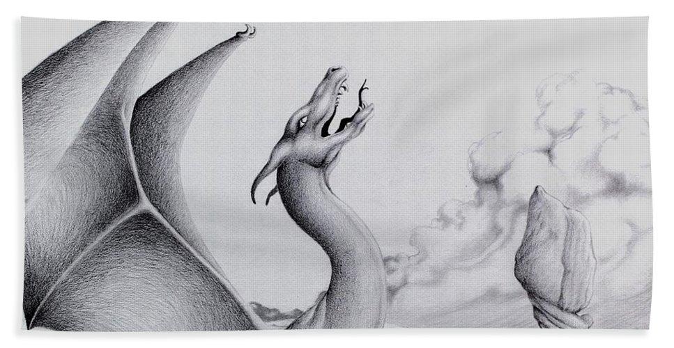 Dragon Bath Sheet featuring the digital art Morning Bellow by Robert Ball