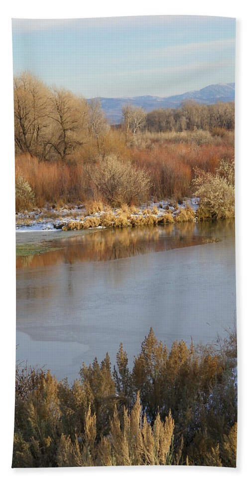 River Hand Towel featuring the photograph Morning Chill by Gale Cochran-Smith