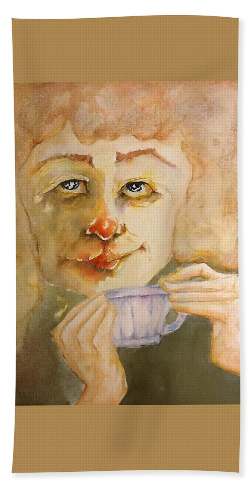 Bath Sheet featuring the painting Morning Coffee Girl by Michael Rome