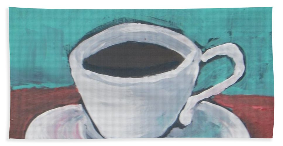 Abstract Hand Towel featuring the painting Morning Coffee by Vesna Antic