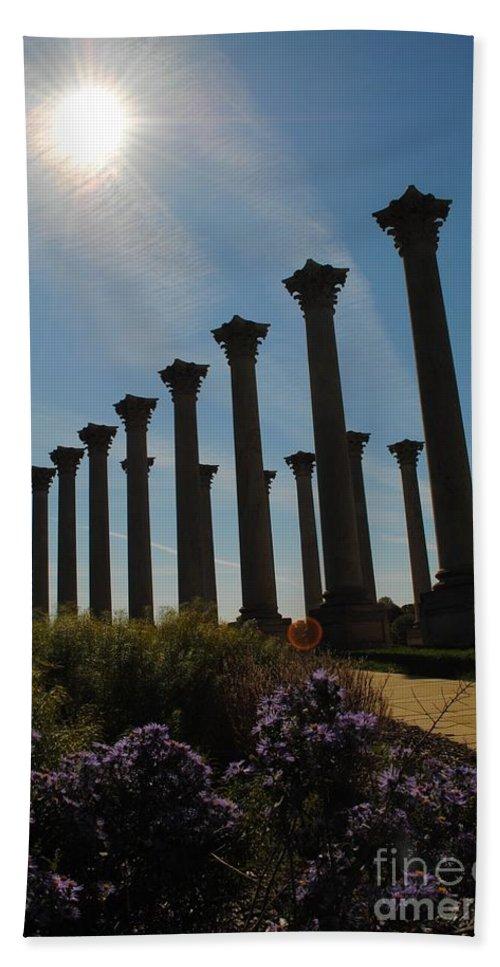 Column Bath Sheet featuring the photograph Morning Column Light by Jost Houk