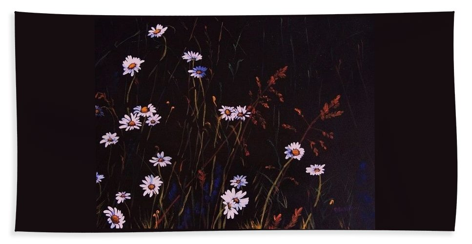 Acrylic Bath Sheet featuring the painting Morning Daisies by Deahn   Benware