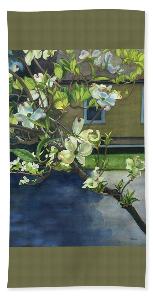 Dogwood Hand Towel featuring the painting Morning Dogwood by Rosanne Wolfe
