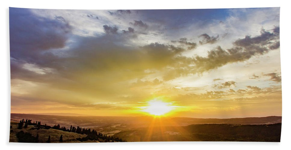 Sunrise Bath Sheet featuring the photograph Morning Earth Rotation by Joseph Broschart