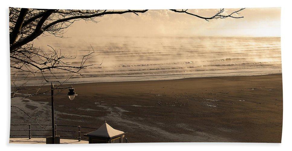 Blue Bath Sheet featuring the photograph Morning Filey Beach by Svetlana Sewell