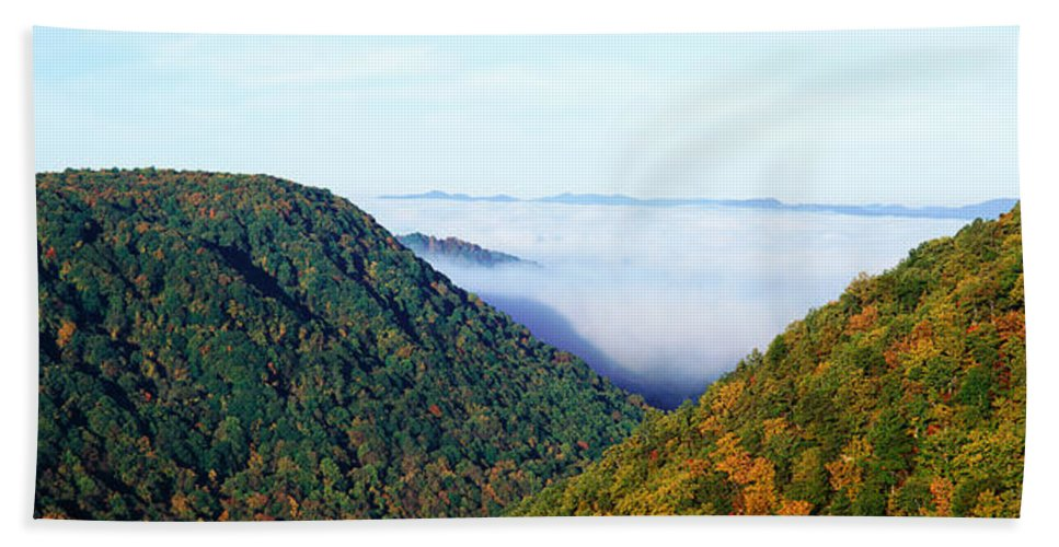 Photography Bath Sheet featuring the photograph Morning Fog At Sunrise In Autumn by Panoramic Images