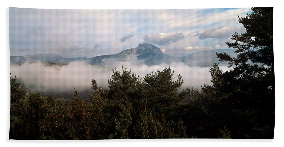 Photography Bath Sheet featuring the photograph Morning Fog In Autumn In The Verdon by Panoramic Images