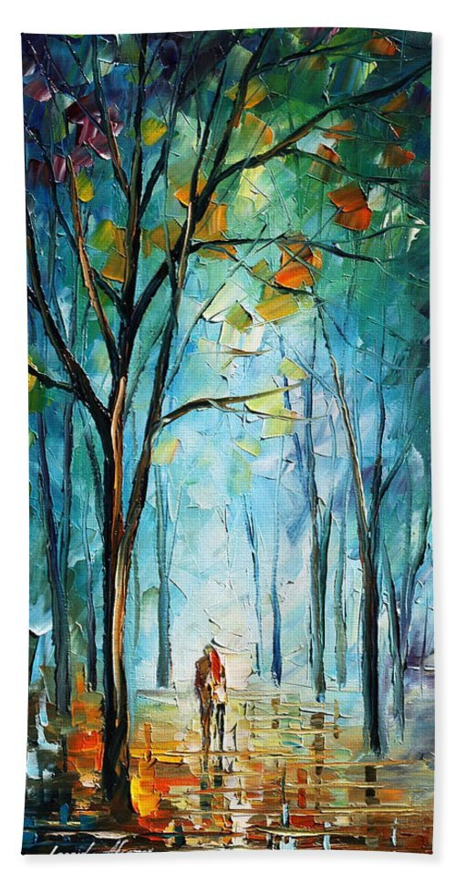 Afremov Hand Towel featuring the painting Morning Fog by Leonid Afremov
