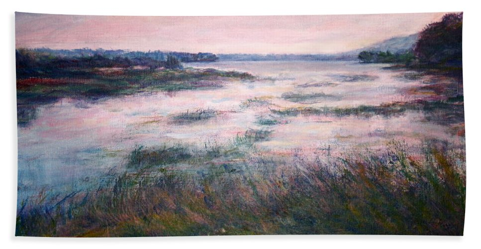 Water Hand Towel featuring the painting Morning Glow by Quin Sweetman