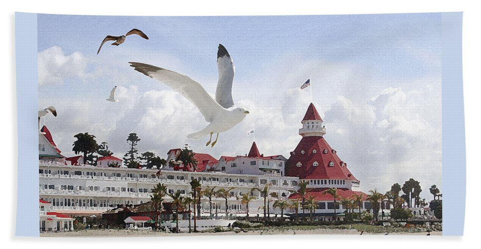Beach Bath Towel featuring the photograph Morning Gulls On Coronado by Margie Wildblood
