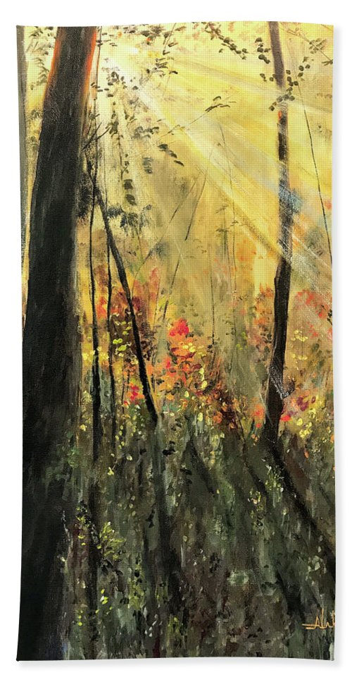 Sunrise Bath Sheet featuring the painting Morning Has Broken by Alan Lakin