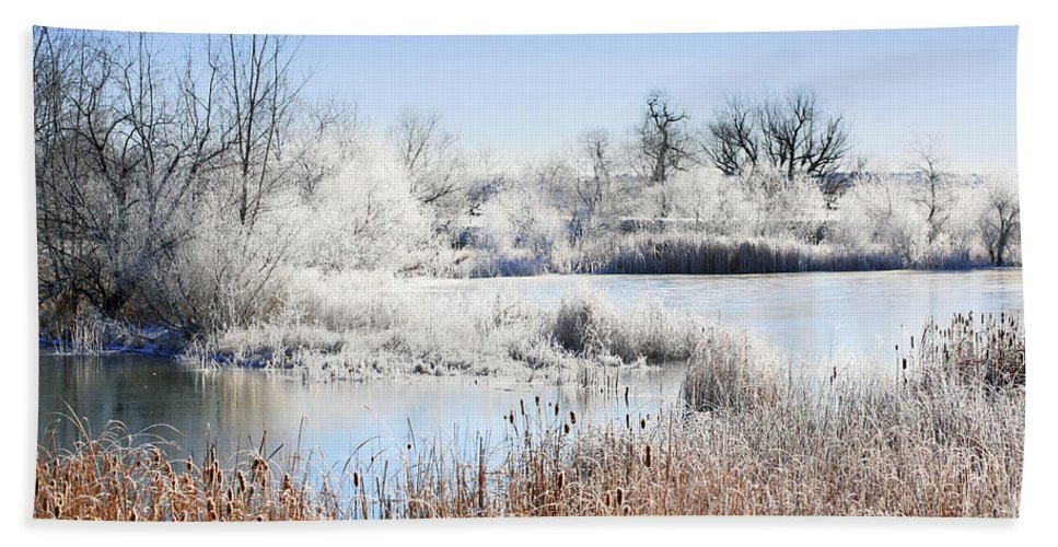 Hoar Frost Hand Towel featuring the photograph Morning Hoar Frost by Marilyn Hunt