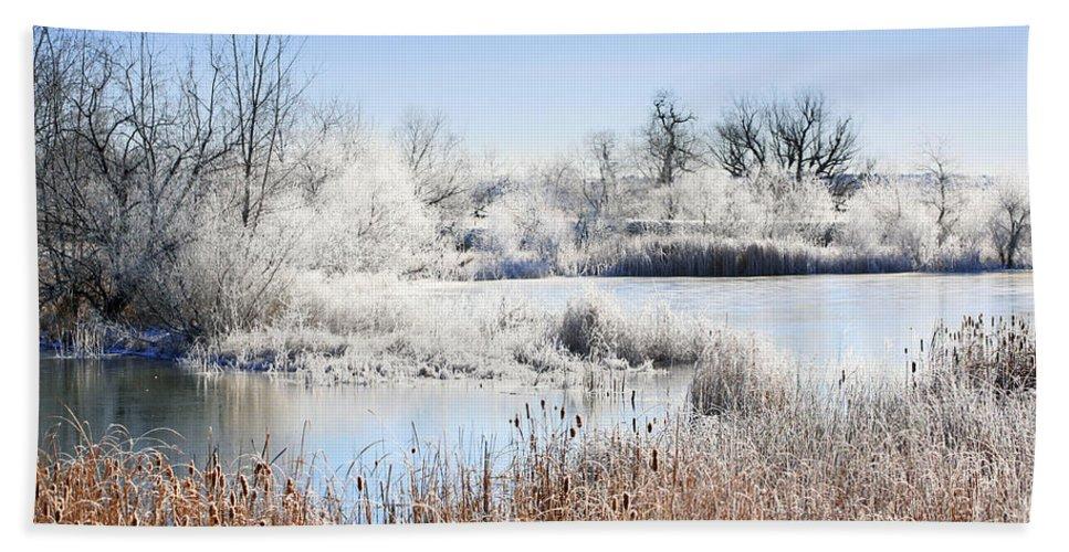 Hoar Frost Bath Sheet featuring the photograph Morning Hoar Frost by Marilyn Hunt