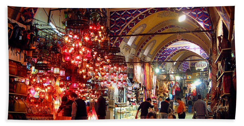 Grand Bazaar Hand Towel featuring the photograph Morning In The Grand Bazaar by Mike Reid