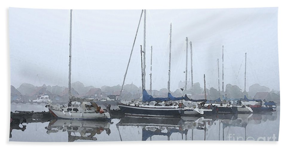 Boat Hand Towel featuring the painting Morning In The Harbor by Steve K