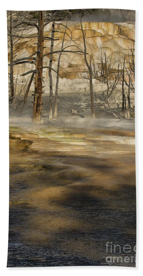 Yellowstone Hand Towel featuring the photograph Morning Light On Mammoth Terrace by Sandra Bronstein