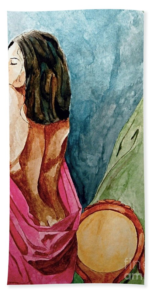 Nudes Women Bath Sheet featuring the painting Morning Light by Herschel Fall