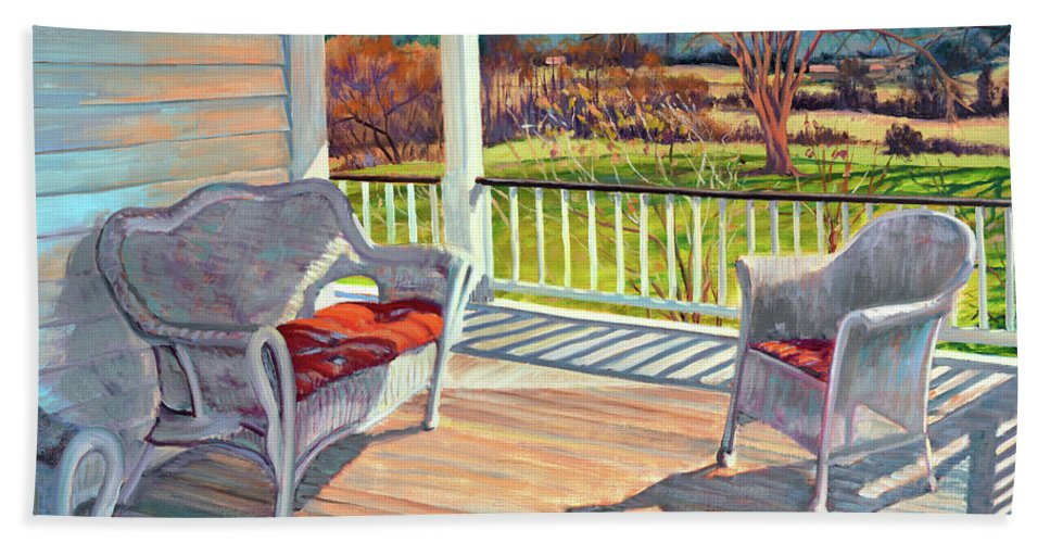 Impressionism Bath Sheet featuring the painting Morning Light by Keith Burgess