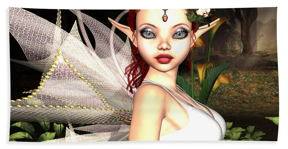 3d Hand Towel featuring the digital art Morning Lily Fairy by Alexander Butler
