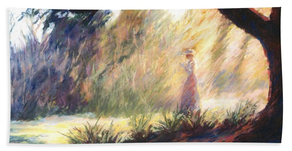 Woman Meditating Tree Park Outdoor Bath Sheet featuring the pastel Morning Meditation by Pat Snook