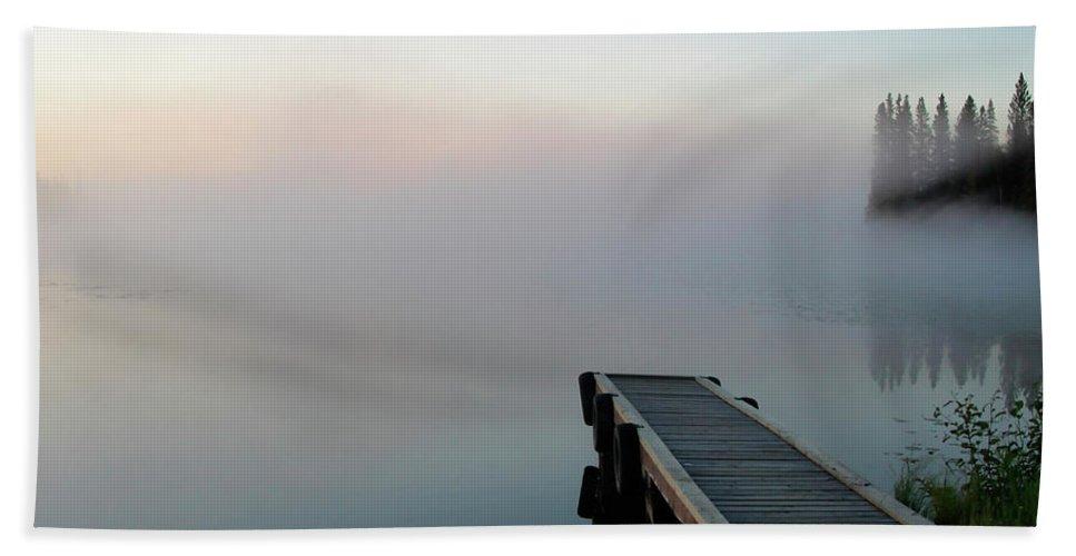 Hand Towel featuring the digital art Morning Mist On Lynx Lake Saskatchewan by Mark Duffy